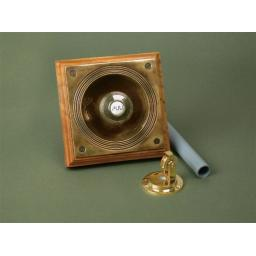 BRASS PERIOD BELL PULL ON TIMBER