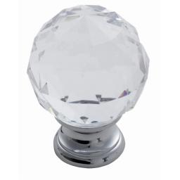 FACETED GENUINE LEAD CRYSTAL CUPBOARD KNOB