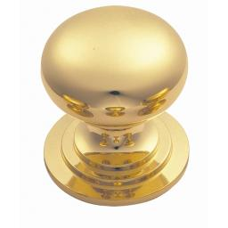 HEAVY VICTORIAN POLISHED BRASS CUPBOARD KNOB
