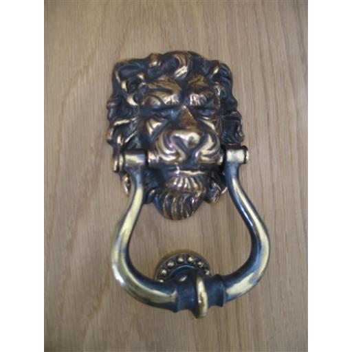 AGED BRASS LIONS HEAD KNOCKER