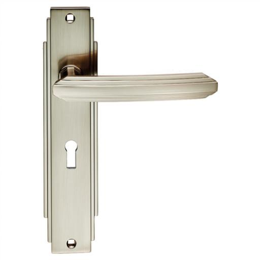 Art Deco Lever on Backplate Satin Nickel