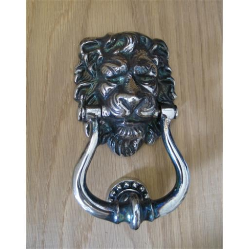 AGED NICKEL LIONS HEAD KNOCKER
