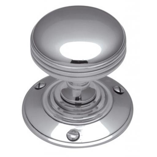 Reeded Bun Knob Polished Chrome