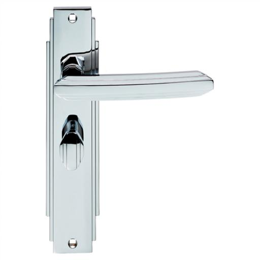 Art Deco Lever on Backplate Polished Chrome