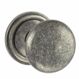 Old English Harrogate Solid Brass Mushroom Mortice Knob on Concealed Fix Rose - Distressed Silver