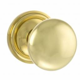 Old English Harrogate Solid Brass Mushroom Mortice Knob on Concealed Fix Rose - Polished Brass