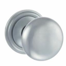 Old English Harrogate Solid Brass Mushroom Mortice Knob on Concealed Fix Rose - Satin Chrome