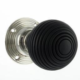 Round Reeded Ebony Wood Knob in Polished Nickel.jpg