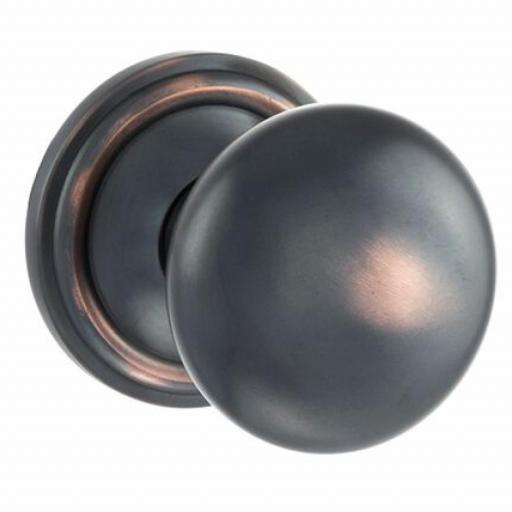 Old English Harrogate Solid Brass Mushroom Mortice Knob on Concealed Fix Rose - Antique Copper.