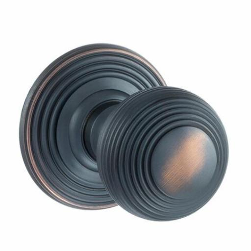 Old English Ripon Solid Brass Reeded Mortice Knob on Concealed Fix Rose - Antique Copper