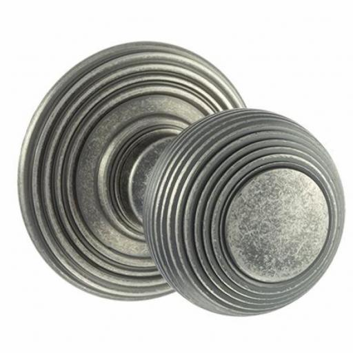 Old English Ripon Solid Brass Reeded Mortice Knob on Concealed Fix Rose - Distressed Silver