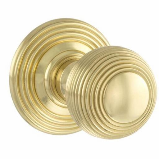 Old English Ripon Solid Brass Reeded Mortice Knob on Concealed Fix Rose - Polished Brass