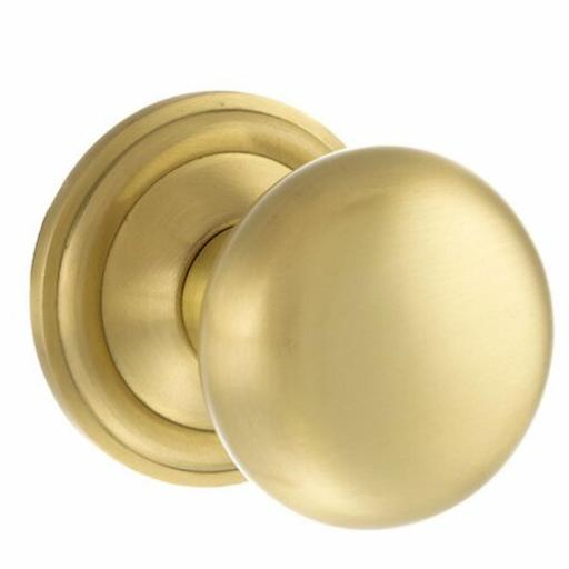 Old English Harrogate Solid Brass Mushroom Mortice Knob on Concealed Fix Rose - Satin Brass