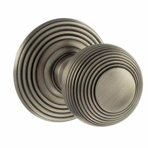 Old English Ripon Solid Brass Reeded Mortice Knob on Concealed Fix Rose - Matt Gun Metal