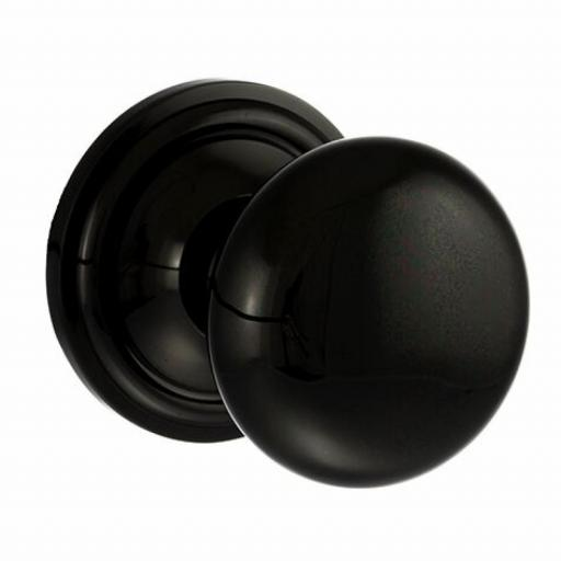 Old English Harrogate Solid Brass Mushroom Mortice Knob on Concealed Fix Rose - Black Nickel
