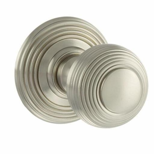Old English Ripon Solid Brass Reeded Mortice Knob on Concealed Fix Rose - Satin Nickel