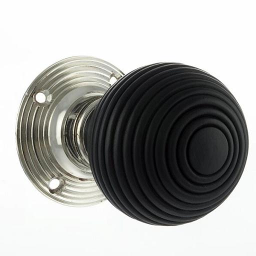Old English Whitby Ebony Wood Reeded Mortice Knob Polished Nickel