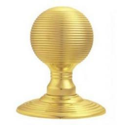 Delamain Reeded Knob in Polished Brass