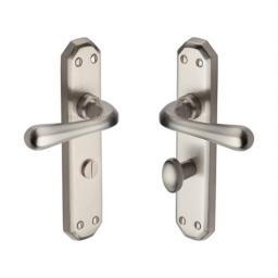 Heritage Brass Door Handle for Bathroom Charlbury Design Satin Nickel finish.jpg