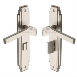 Heritage Brass Door Handle Bathroom Set Tiffany Design Satin Nickel Finish.jpg