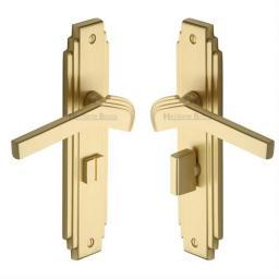 Heritage Brass Door Handle Bathroom Set Tiffany Design Satin Brass Finish.jpg