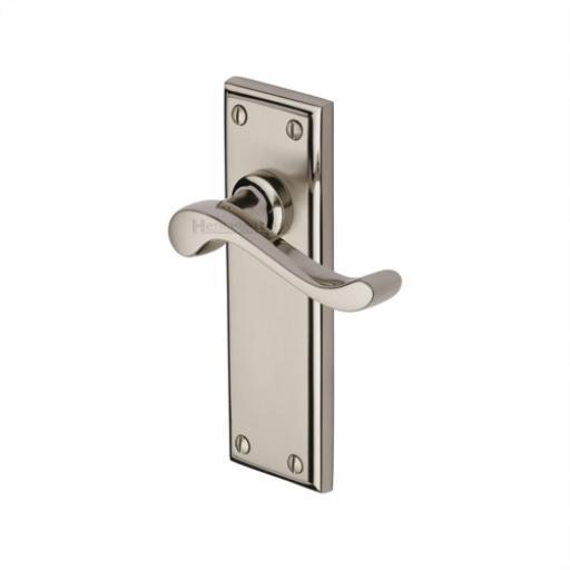 Heritage Brass Door Handle Lever Latch Edwardian Design Mercury finish.jpg