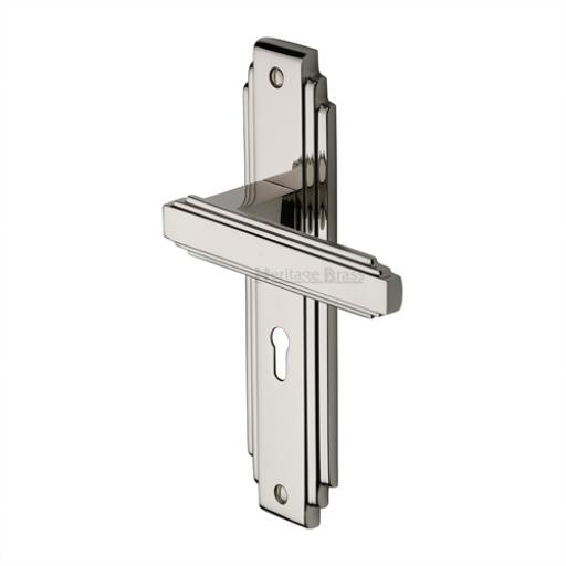 Heritage Brass Door Handle Astoria Design Polished Nickel
