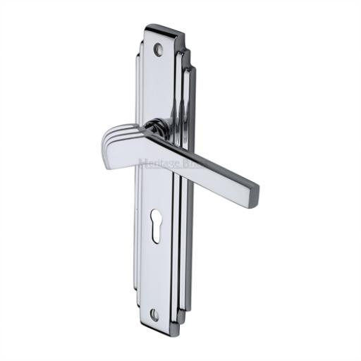 Heritage Brass Door Handle Tiffany Design Polished Chrome