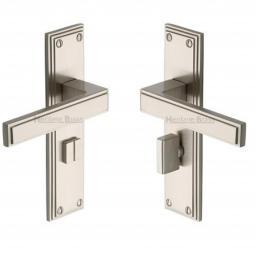 Heritage Brass Door Handle for Bathroom Atlantis Design Satin Nickel finish.jpg