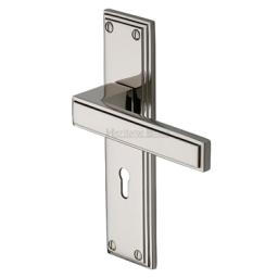 Heritage Brass Door Handle Atlantis Design Polished Nickel