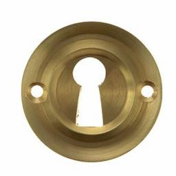 Old English Solid Brass Open Key Escutcheon Satin Brass