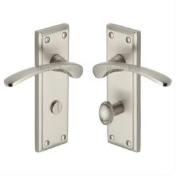 Heritage Brass Door Handle for Bathroom Hilton Design Satin Nickel finish.jpg