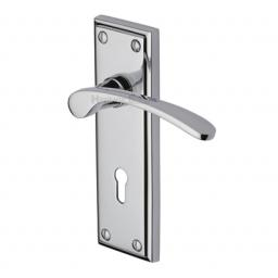 Heritage Brass Door Handle Lever Lock Hilton Design Polished Chrome finish.jpg