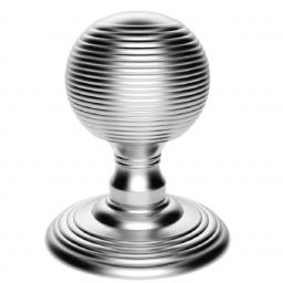 Delamain Reeded Knob in Satin Chrome