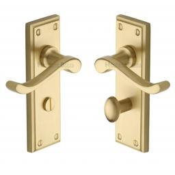 Heritage Brass Door Handle for Bathroom Edwardian Design Satin Brass finish.jpg