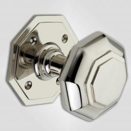 Octagonal Knob in Polished Nickel