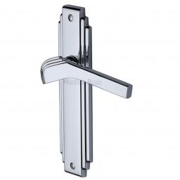 Heritage Brass Door Handle Lever Latch Tiffany Design Polished Chrome Finish.jpg