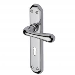 Heritage Brass Door Handle Lever Lock Charlbury Design Polished Chrome finish.jpg