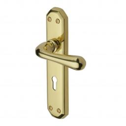 Heritage Brass Door Handle Lever Lock Charlbury Design Polished Brass finish.jpg