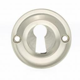Old English Solid Brass Open Key Escutcheon Satin Nickel