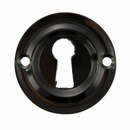 Old English Solid Brass Open Key Escutcheon Black Nickel