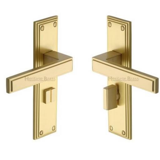 Heritage Brass Door Handle for Bathroom Atlantis Design Satin Brass finish.jpg