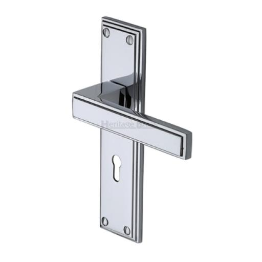 Heritage Brass Door Handle Lever Lock Atlantis Design Polished Chrome finish.jpg