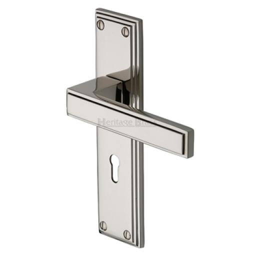 Heritage Brass Door Handle Lever Lock Atlantis Design Polished Nickel finish.jpg