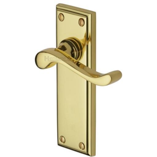 Heritage Brass Door Handle Lever Latch Edwardian Design Polished Brass finish.jpg