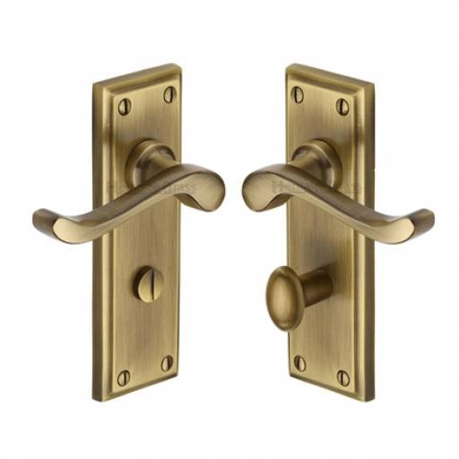 Heritage Brass Door Handle for Bathroom Edwardian Design Antique finish.jpg