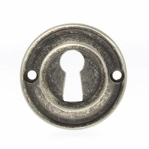 Old English Solid Brass Open Key Escutcheon Distressed Silver