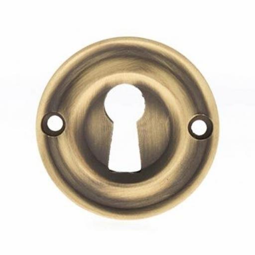 Old English Solid Brass Open Key Escutcheon Matt Antique Brass
