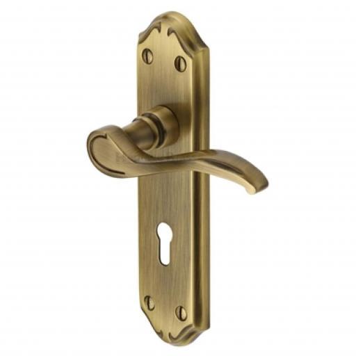 Heritage Brass Door Handle Lever Lock Verona Small Design Antique finish.jpg