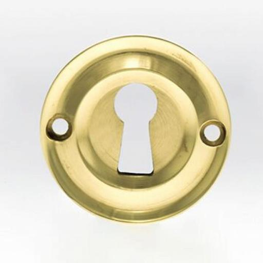 Old English Solid Brass Open Key Escutcheon Polished Brass